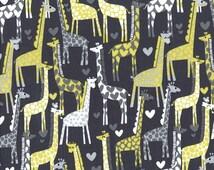 Giraffe Fabric - Giraffe Love in Grey by Michael Miller Fabrics - 1/2 Yard