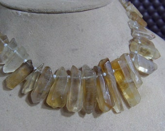 1 Strand Bio Lemon Quartz  Natural crystal shapes beads 10'' 73. grams 6X12 8X33 MM