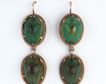 A pair of Victorian Scarab Beetle Earrings, Victorian, Egyptian Revival