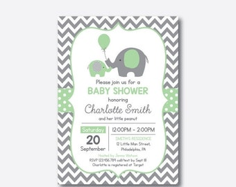 Elephant Baby Shower Invitation, Green Elephant Invitation, Little Peanut, Boy Girl Baby Shower, Chevron, Personalized,Baby Sprinkle(SBS.40)