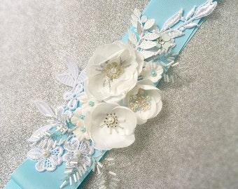 Blue Bridal Sash Ribbon Wedding Belt Appliqué  Sash Floral Belt
