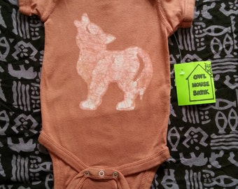 Wolf Onesie 6 Month Rust Color