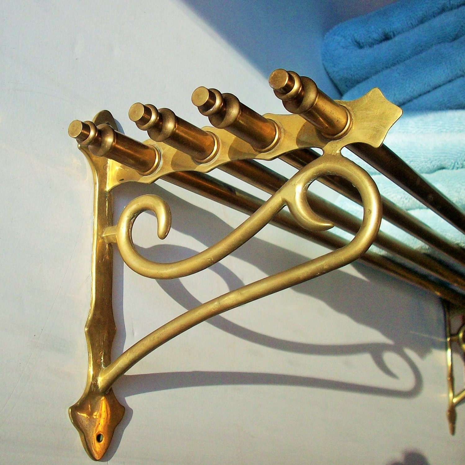 Vintage Brass Train Luggage Rack Authenic Relic Practical