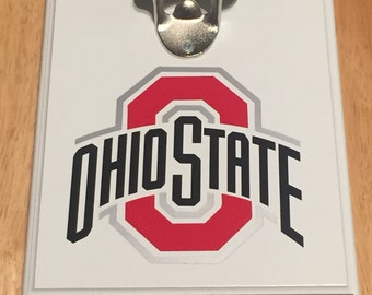 Homemade Wooden Wall Mount Man Cave Bottle Opener wih Magntic Cap Catcher  Ohio State Buckeyes