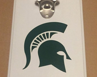 Homemade Wooden Wall Mount Man Cave Bottle Opener wih Magntic Cap Catcher Michigan State Spartans