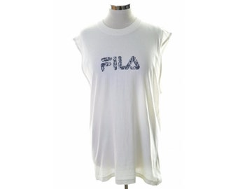 Fila Womens T-Shirt Top Sleeveless Size 18 XL White