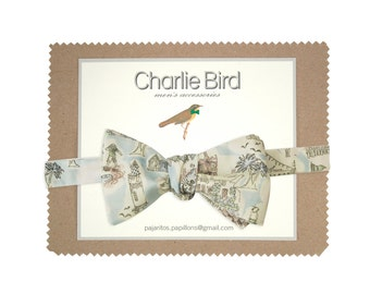 "Flowered Charlie Bird bow tie on Liberty ""Vacances"""