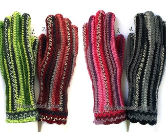 Hand knitted Gloves with Fingers Multicolor Women's Gloves Striped Gloves for all Season Fingerless Gloves Wrist Warmers Knitted Mittens