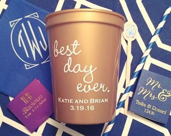 Best day ever plastic cups, Wedding stadium cups, reception favors, reception cups, personalized cups