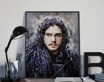 Jon Snow - Winter is Coming - Game of Thrones Art Print Poster - 8x10inch PRINTABLE - Wall Decor,