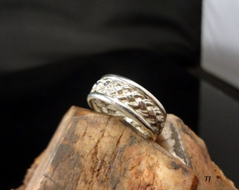 Celtic-Irish Woven Wedding Band, Handmade, .925 Sterling Silver, SZ-7