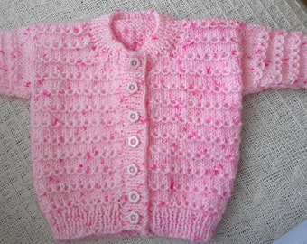 Hand Knitted Newborn Girls Pink Traditional Cardigan FREE POSTING