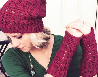 Slouch Hat and Fingerless Glove Set