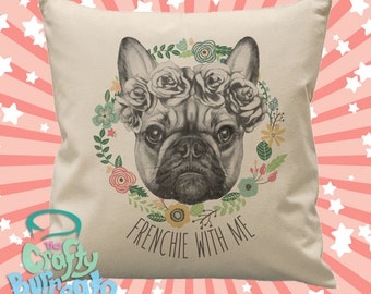 Frenchie with me - 45cm square cotton cushion cover French Bulldog design