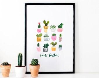 Cacti Illustrated Waterclour Art Print