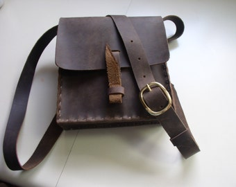 CSherwoodLeather Dark Chocolate Brown Handmade Leather Purse, Handbag, Rustic Small Messenger Bag, with Brass Buckle