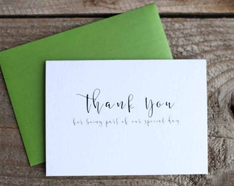 Set of 25 Wedding Thank You Cards - Thank You For Being Part of Our Special Day Cards