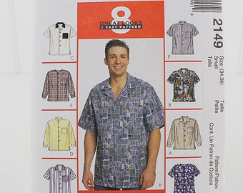 Mens Shirt UNCUT Sewing Pattern, McCalls 2 149, Size 34 to 36