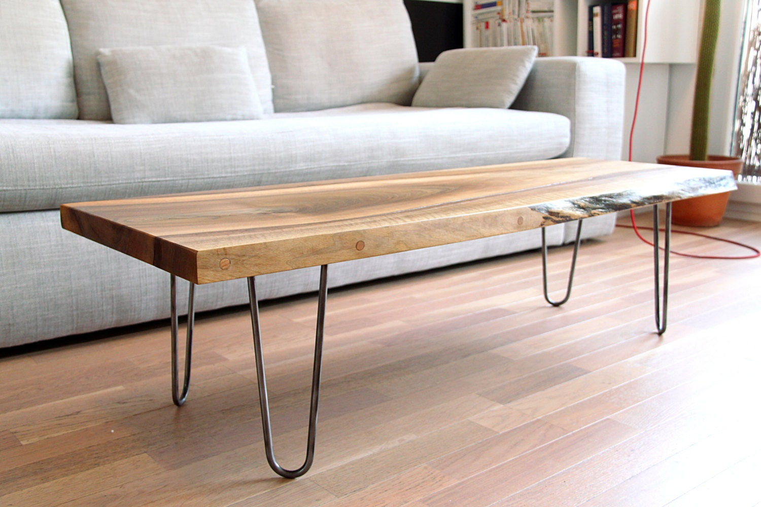 Sold Live Edge Solid Walnut Coffee Table On Hairpin Legs