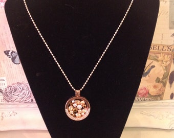 Rose Gold  Coloured Coin Necklace with long Chain, Locket and rose gold and diamante coin insert