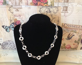 Precious Silver Plated Necklace with circle link detail