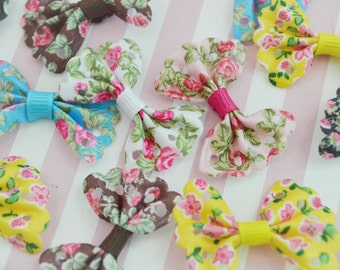35mm Mixed Colors Floral Printed Bows - 5 piece set