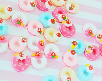 18mm Kawaii Sweet Donut Flatback Resin Decoden Cabochon - 5 piece set