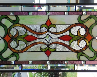 Stained Glass Window Hanging 26 3/4 X 15 5/8