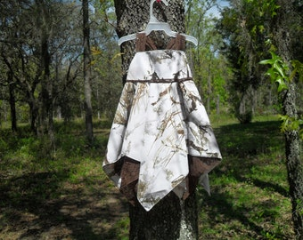 NEW ! Made with White Snow Camo fabric. With brown Lace handkerchief sundress. #13 in fabric selection 22 other camo colors