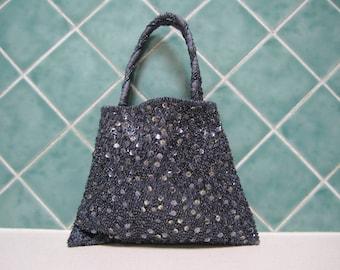 Vintage Blue/Grey Beaded Handbag - Evening Bag - Wedding