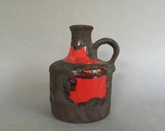 Marei Keramik 4300 Mid Century Modern  1970s stunning  handled vintage vulcanic Fat Lava vase   West Germany ceramic. WGP.