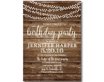 Printable Birthday Invitation - Rustic Birthday Invitation - Country Chic - Fall Birthday Invitation - Printable Birthday Invitation #CL152