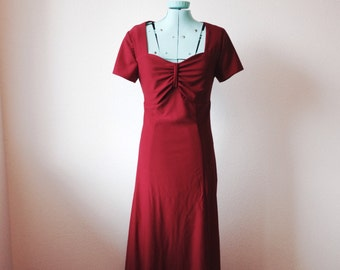 Vtg OxBlood Red Skinny Maxi Dress sweetheart neck gathered bust empire waist