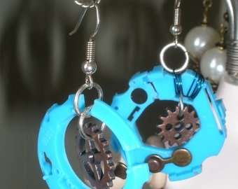steampunk turquoise ear rings