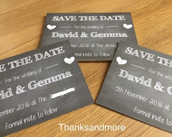 Chalk effect save the date wedding cards. Vintage shabby chic effect save the date cards