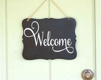 Cute Welcome Sign Chalkboard Sign hanging chalk board sign - door hanging - indoor / outdoor - cute welcome sign