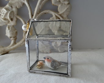 Stained Glass House with bird and wire nest with pearl eggs
