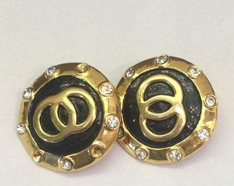 Vintage Black and Gold Clip On Earrings // 1980s Diamante Earrings