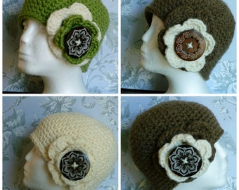 wool hat and big wood button