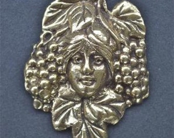Small Art Nouveau ladies head with grapes furniture mount ormolu H2