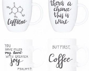 Hand Painted Ceramic Coffee or Tea Mugs -- Custom Designs Available