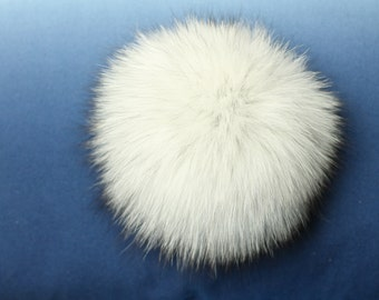 "LARGE 5"" and 6"" FOX FUR pom-poms ! Light Dusty gray Real fur pom-pom, fur pompom, one of a kind accessory, Ideal for knitted hats"