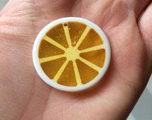 Yellow Acrylic Lemon Slice Pendant for Chunky Bubble Gum Bead Necklaces