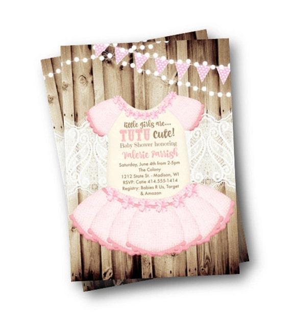 Tutu Baby Shower Invitation Onesie Invite Girl Rustic Pink