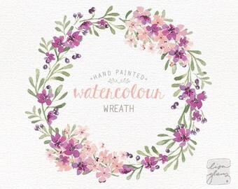 Watercolor wreath: floral wreath clipart / Wedding invitation clip art / commercial use / purple lilac pink blossom berries / CM0063f-purple