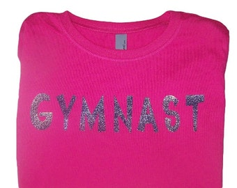 Gymnastics Shirt with Glitter Lettering