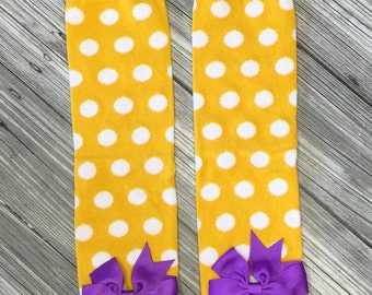 Mardi Gras Yellow Polka Dot Leg Warmers with purple Bow! Infant to Toddler! Stocking Stuffer Idea, Ready to ship. Mardi Gras Baby