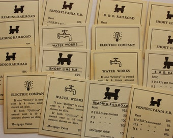 11 Monopoly Railroad and Utility Cards for Crafts, monopoly cards, railroad cards, utility cards
