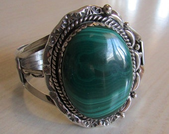 Large Sterling Silver and Malachite Navajo Style Bracelet