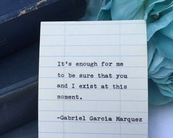 Gabriel Garcia Marquez quote hand typed on library due date card
